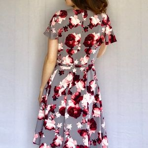Eva Mendes Dresses - A-Line Dress Cap Sleeve Pink Gray Waist Belt 6